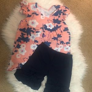 Other - BNWOT 7/8 floral top w/ dark navy ruffle shorts